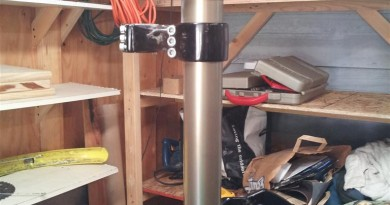 One stanchion with the lower triple clamp still attached.