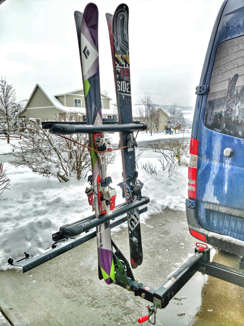 Vertical Ski Or Snowboard Carrying Hitch Rack Points