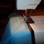 Sewing the kite seams including slit nylon reinforcment