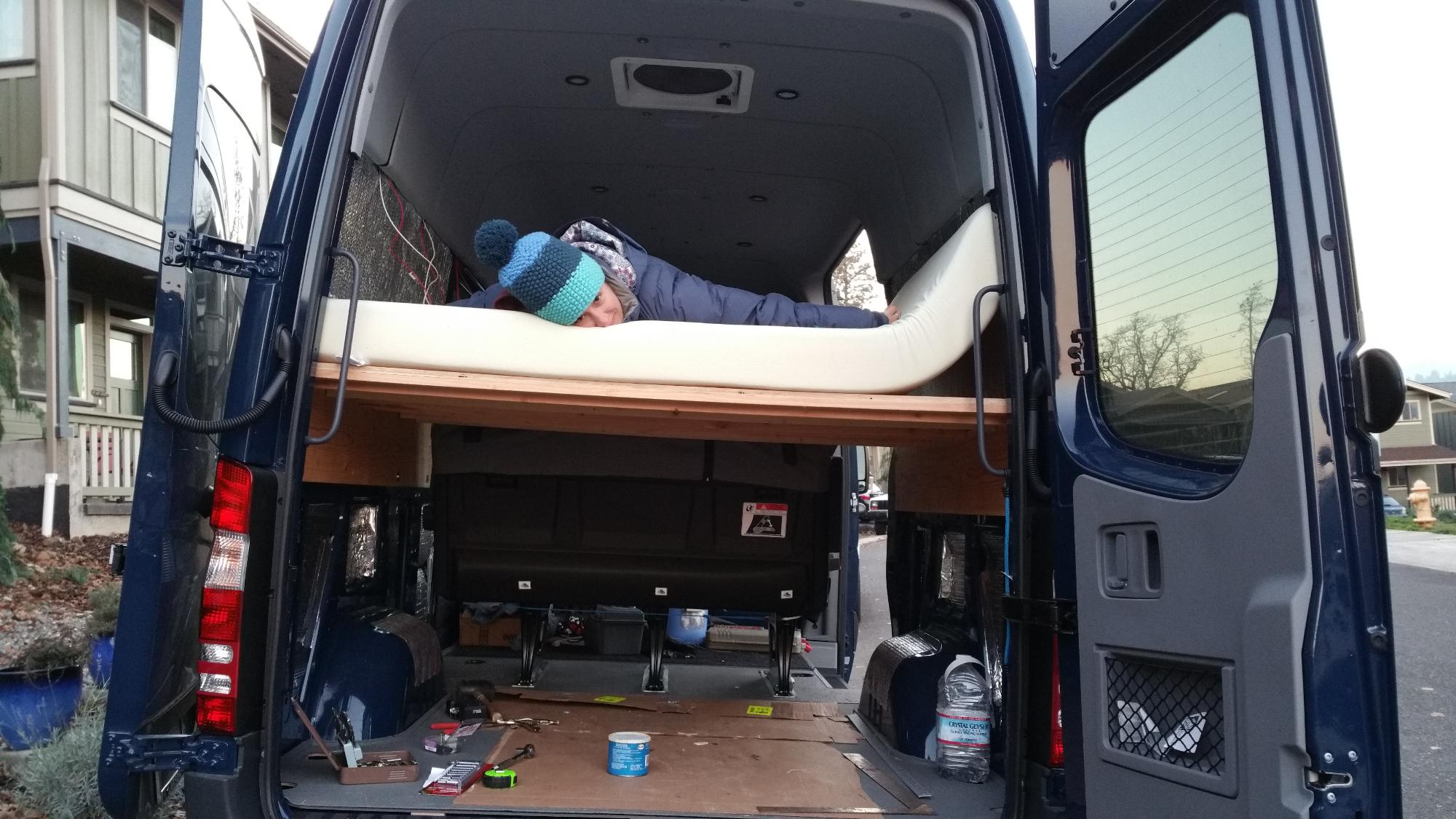 Sprinter Adventure Van Build Bed Platform Points Unknown